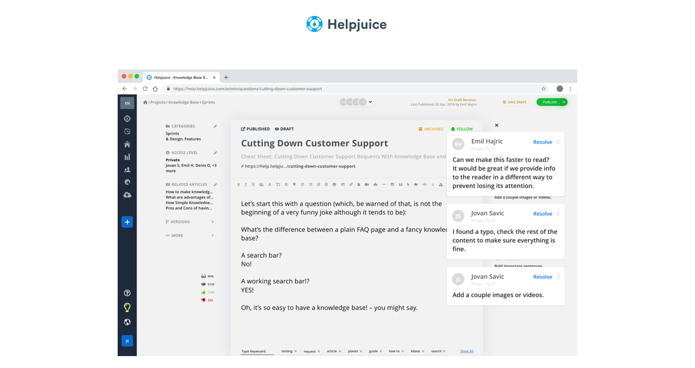 Helpjuice screenshot