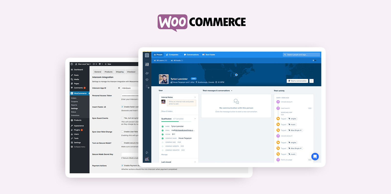 WooCommerce integration with Intercom