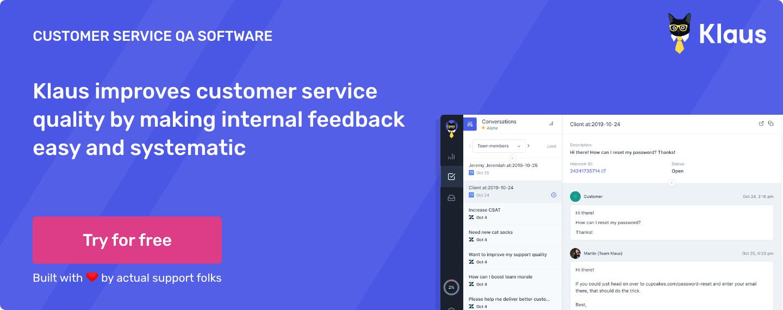 Klaus Customer Service Quality Management Platform