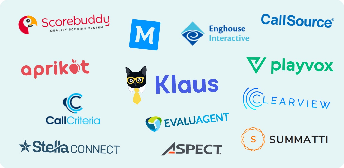 Customer Service Quality Assurance software tools Klaus, Scoreboddy, Playvox, StellaConnect, Aprikot, Evaluagent, MaestroQA, Summatti, and others