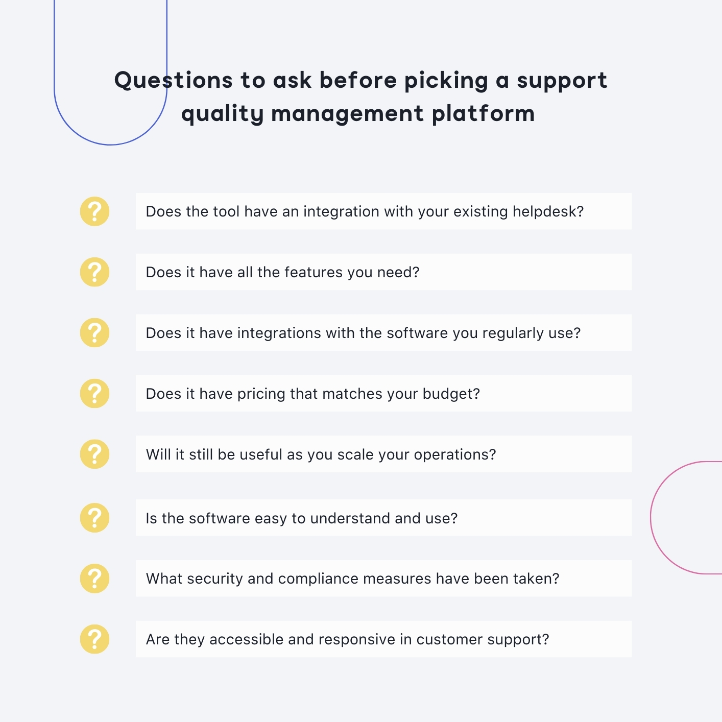 questions to ask before picking a support quality management platform