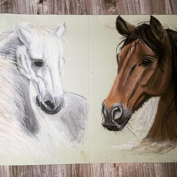 Obraz konie, suche pastele na bristolu 86/60