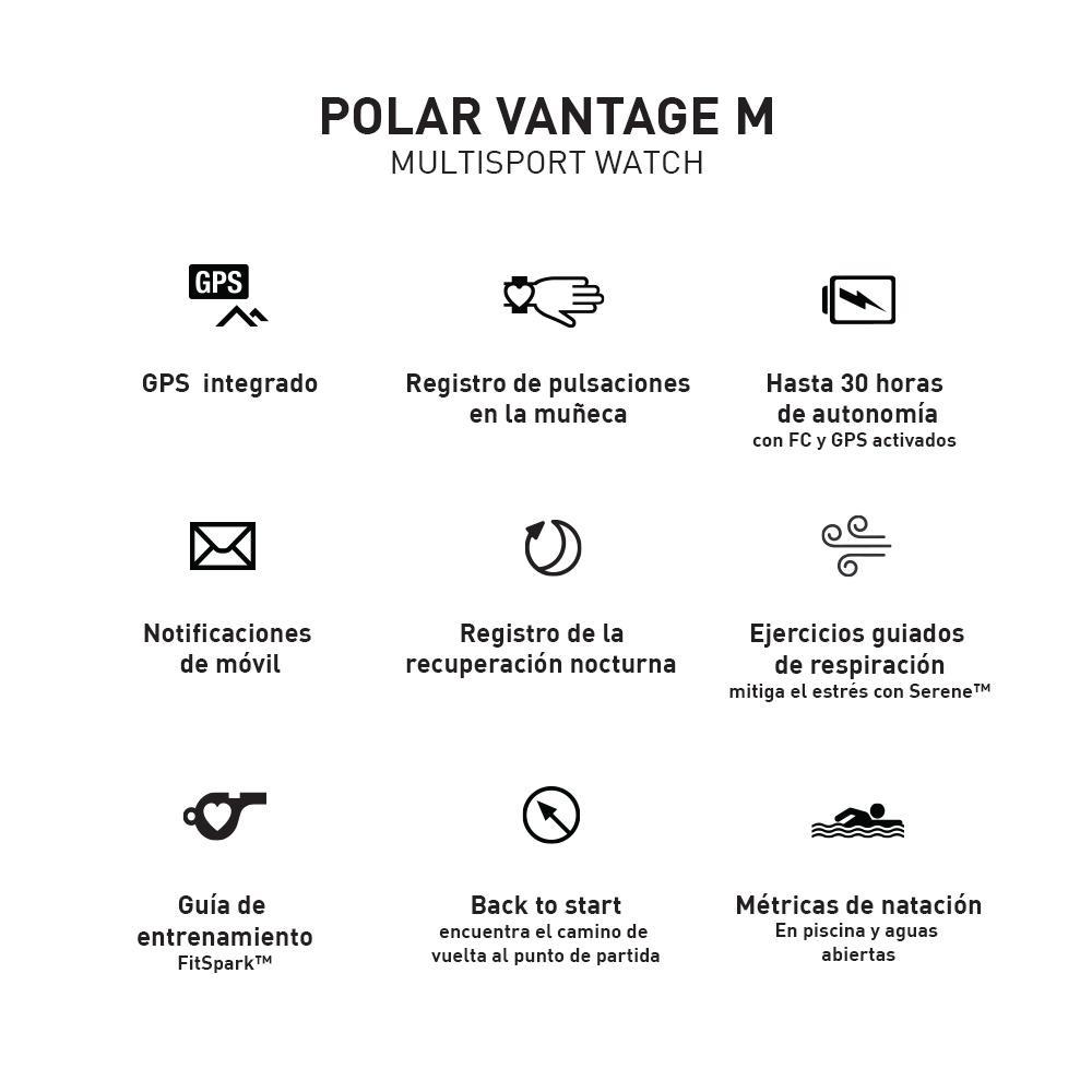 Polar Vantage M - Reloj Deportivo GPS Trail Running