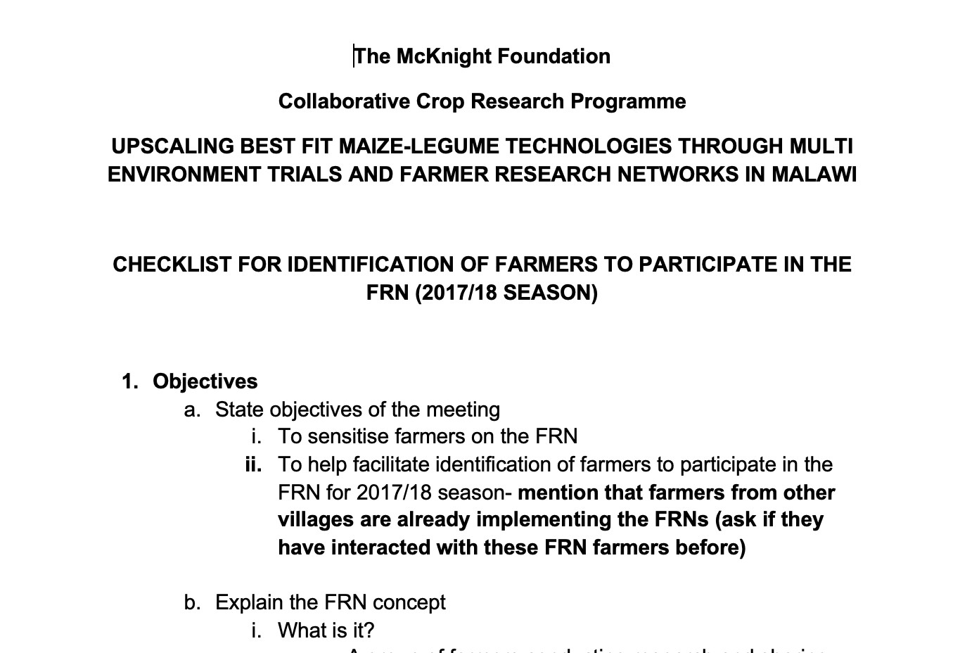 Checklist for Identification of Farmers to Participate in the FRN