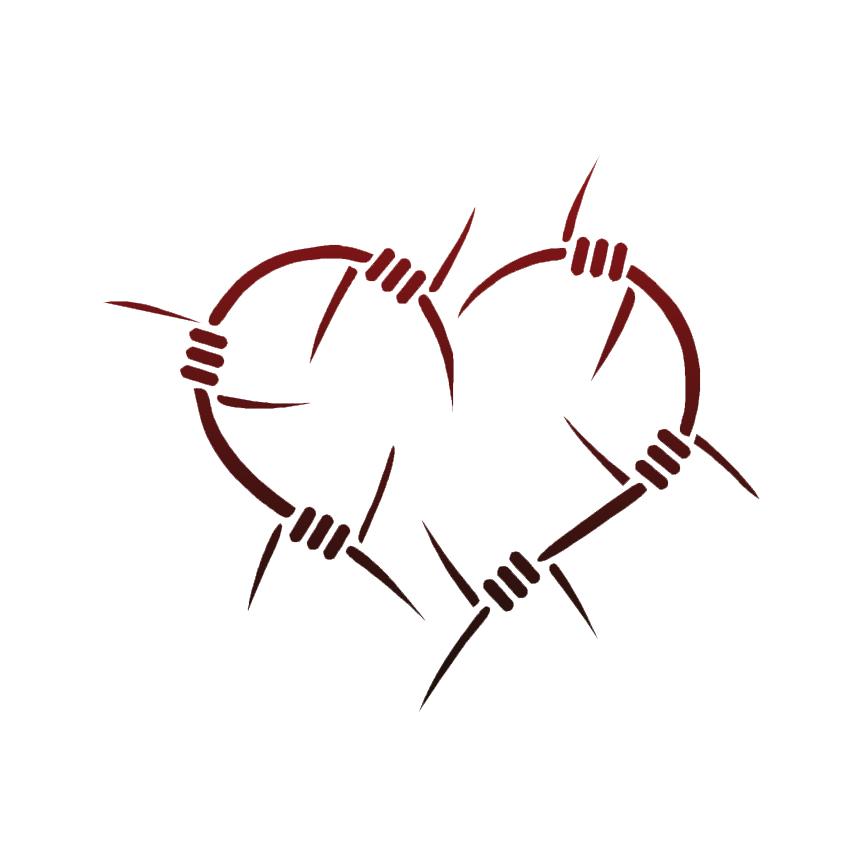 Barbed Wire Heart Decal Sticker Choose Pattern + Size #84 | eBay