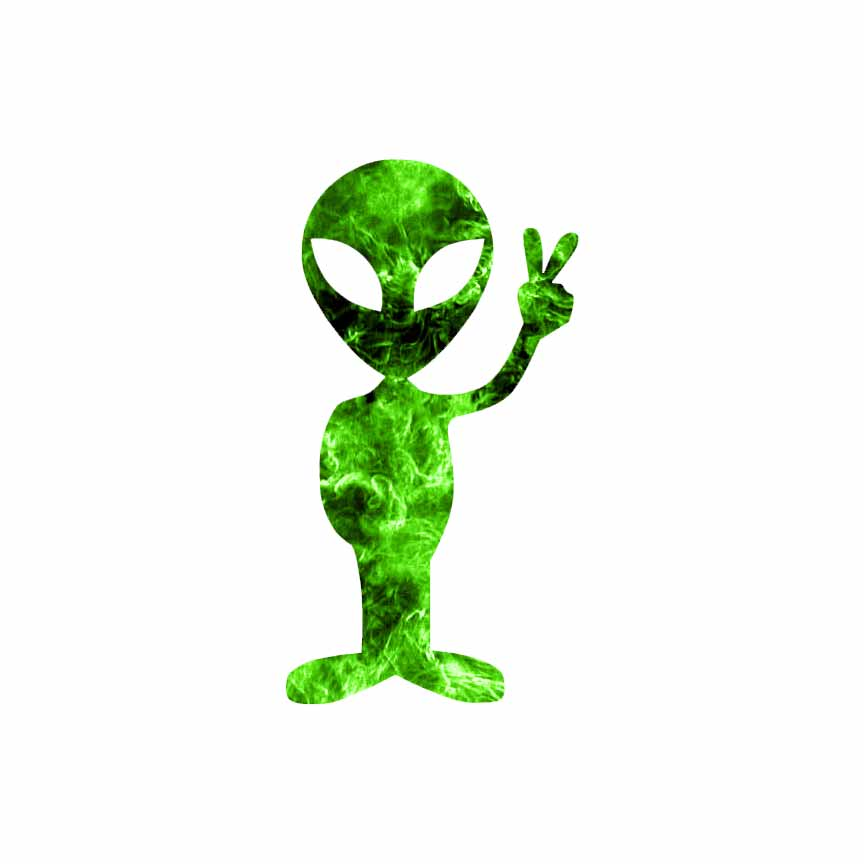 Peace sign alien decal sticker choose pattern size