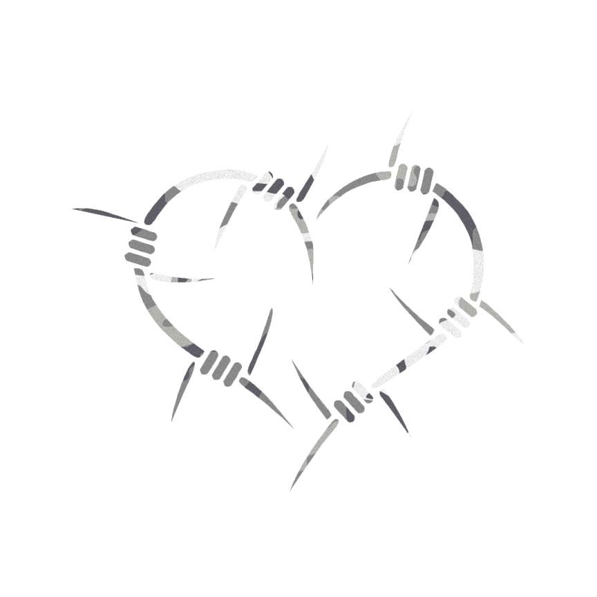 Barbed Wire Heart Decal Sticker Choose Pattern + Size #84   eBay