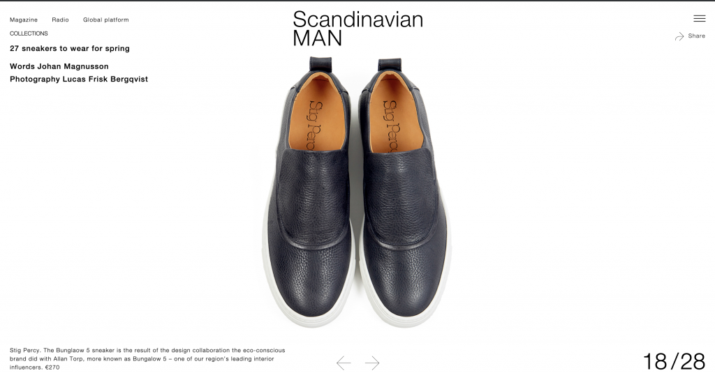 Swedish lifestyle magazine Scandinavian Man covers Stig Percy sneakers