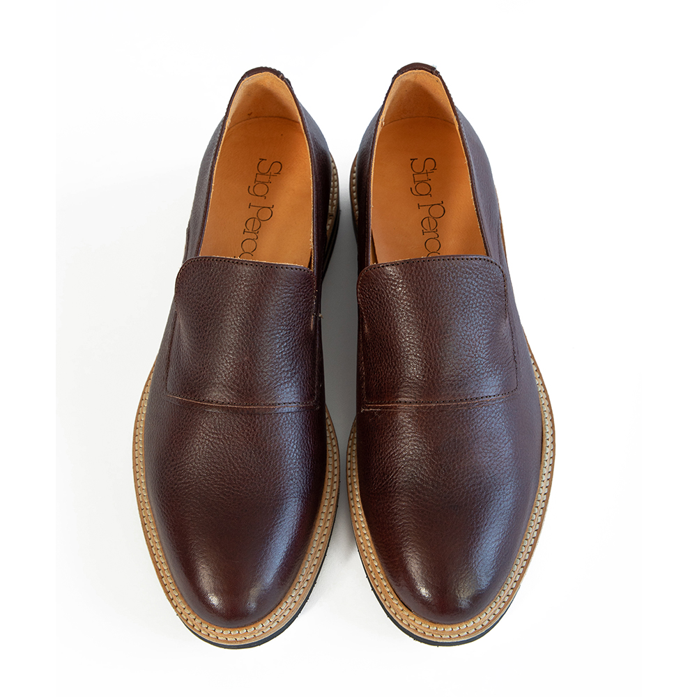 Brown leather loafers made with sustainable vegetable tanned leather