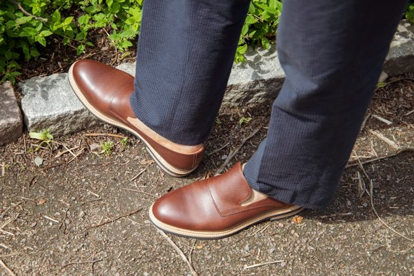 brown full-grain leather loafers made with premium vegetable tanned leather