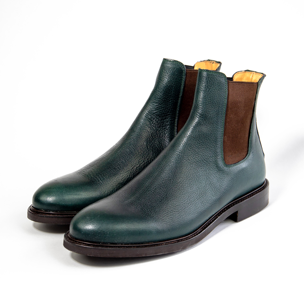 Green Goodyear welted Chelsea boots