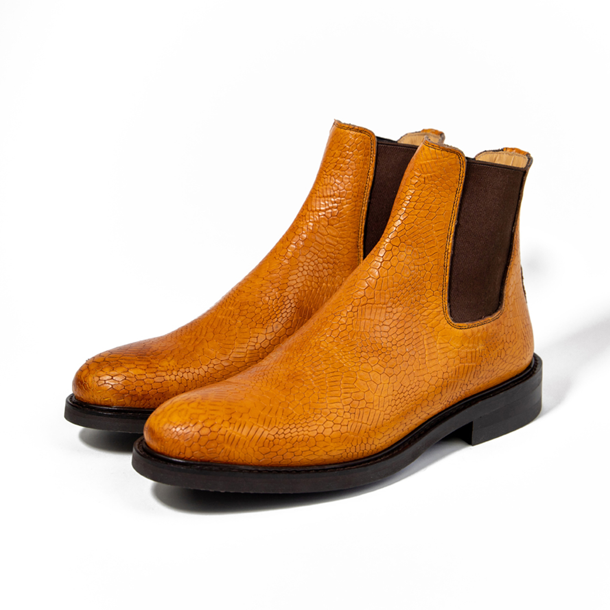Mustard Goodyear welted Chelsea boots