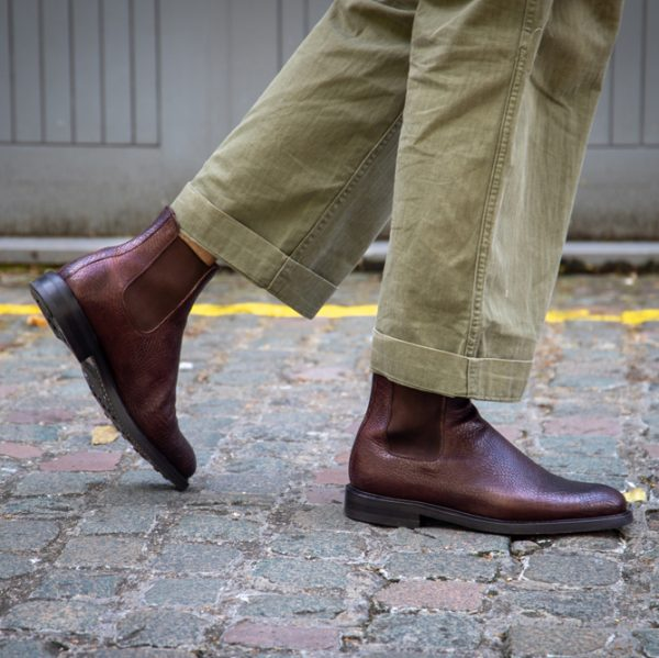Brown Embossed Goodyear welted Chelsea boots