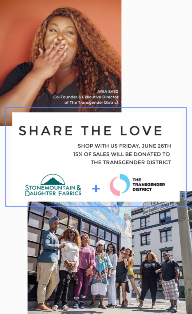 Share the Love! We're donating 15% of sales to the Transgender District