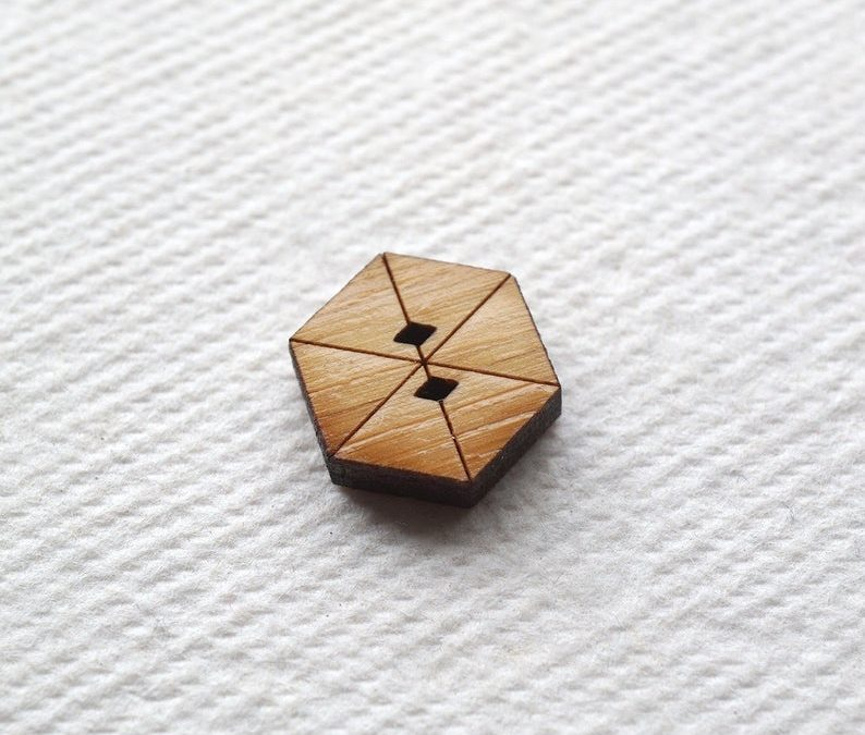 Arrow Mountain Bamboo Button – Hex
