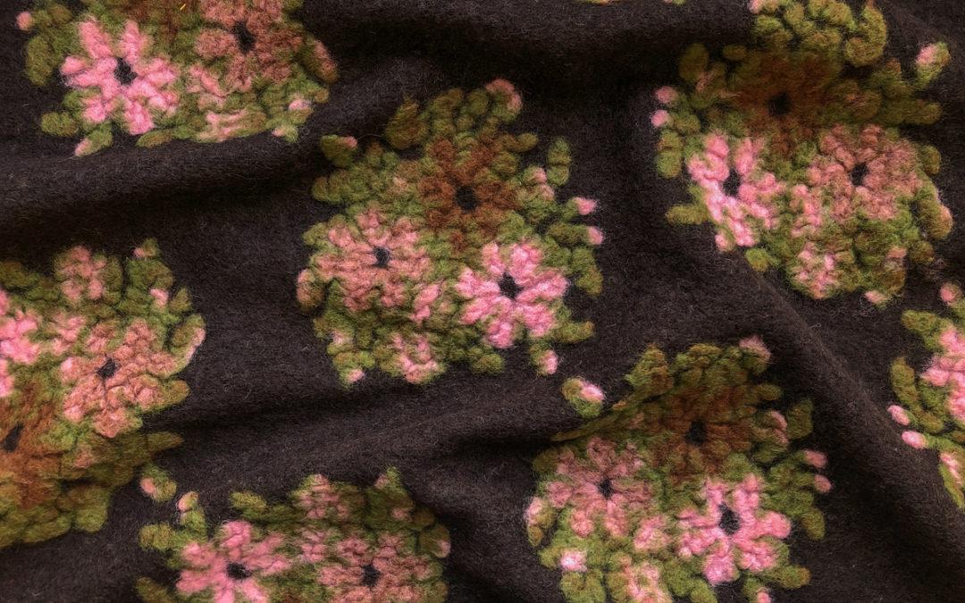 Italian Boiled Wool Sweater Knit – Flower Clusters