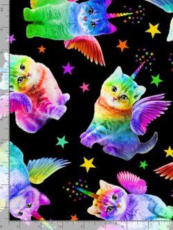 Timeless Treasures Rainbow Unicorn Cat Quilting Cotton