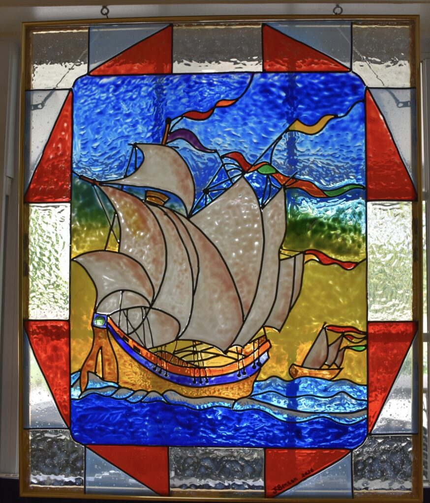 Done in stained glass paint. I was introduced to this medium by Kate Hilbert in one of her Stoneridge art classes and have been experimenting with it ever since.