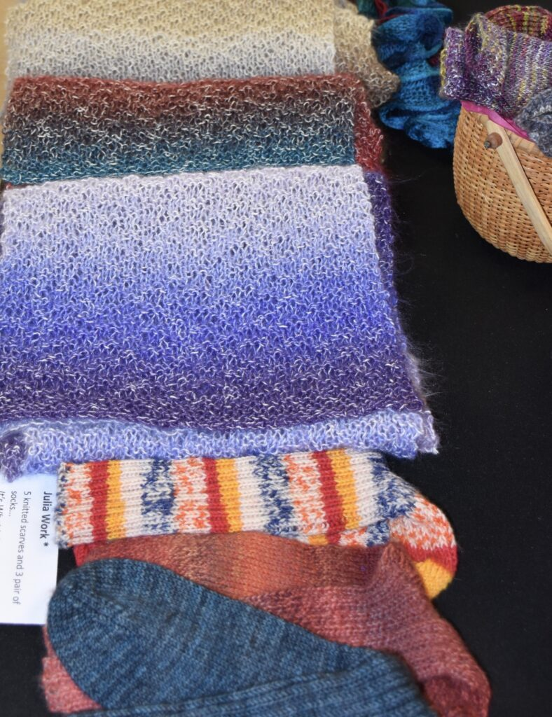5 knitted scarves and 3 pair of socks... It's What I do.