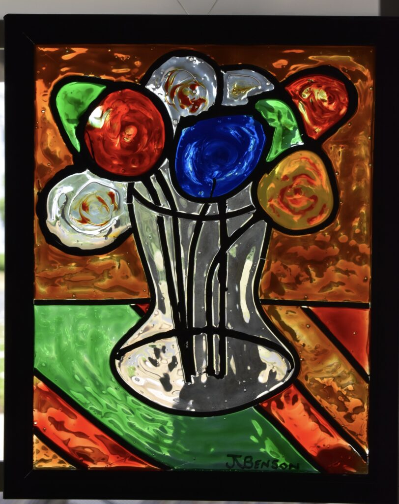 A simple stained-glass painting created when testing paint colors.