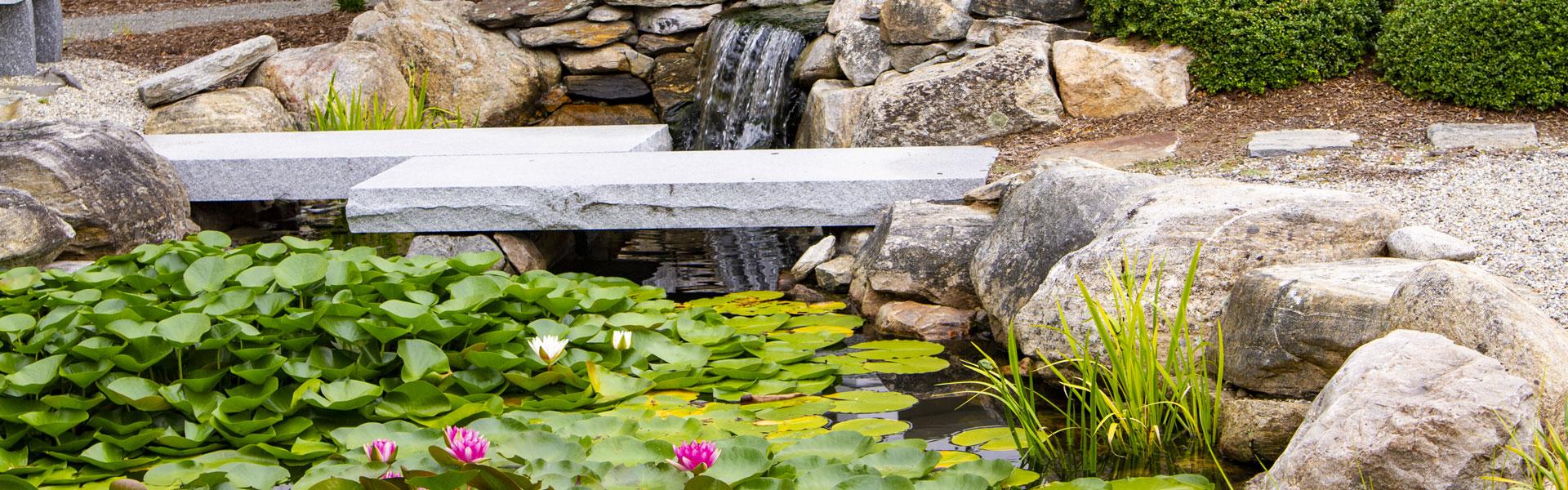 Stone bridge in nature garden