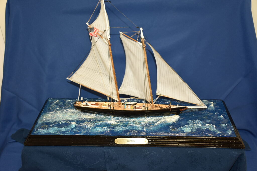 A fellow resident could not finish this model of the yacht America for health reasons, so he gave it to me at the start of the Corona virus problem.  I was able to finish it and gave it back to him. On his passing it was again back with me.   This yacht America has made a small journey in its own way.