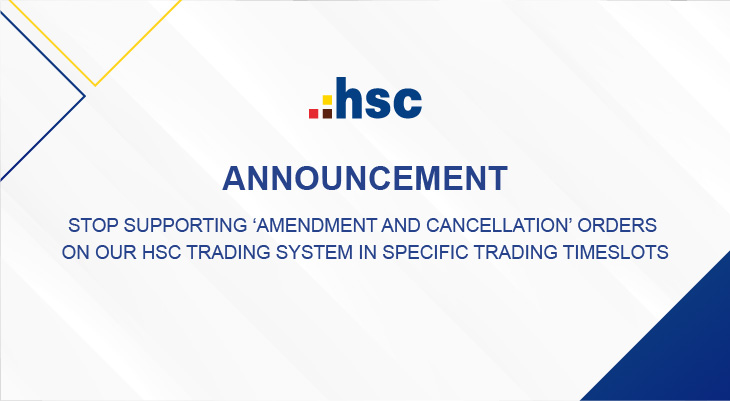 Stop supporting AMENDMENT and CANCELLATION orders on our HSC Trading System in specific trading timeslots