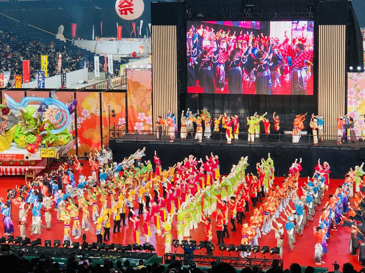 『ふるさと祭り東京』の『お祭りひろば』。こちらは2019年の『みんなでよさこい総踊り』の様子