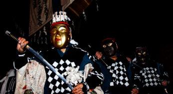 大日堂舞楽。秋田県鹿角市に伝わる1300年の歴史を超える舞。