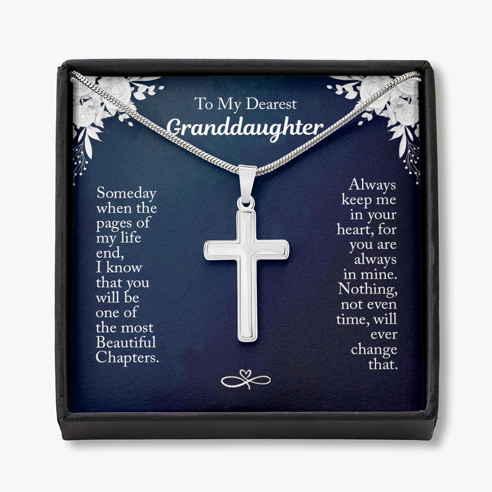 To My Dearest Granddaughter - Cross Necklace - How Much You Mean To Me