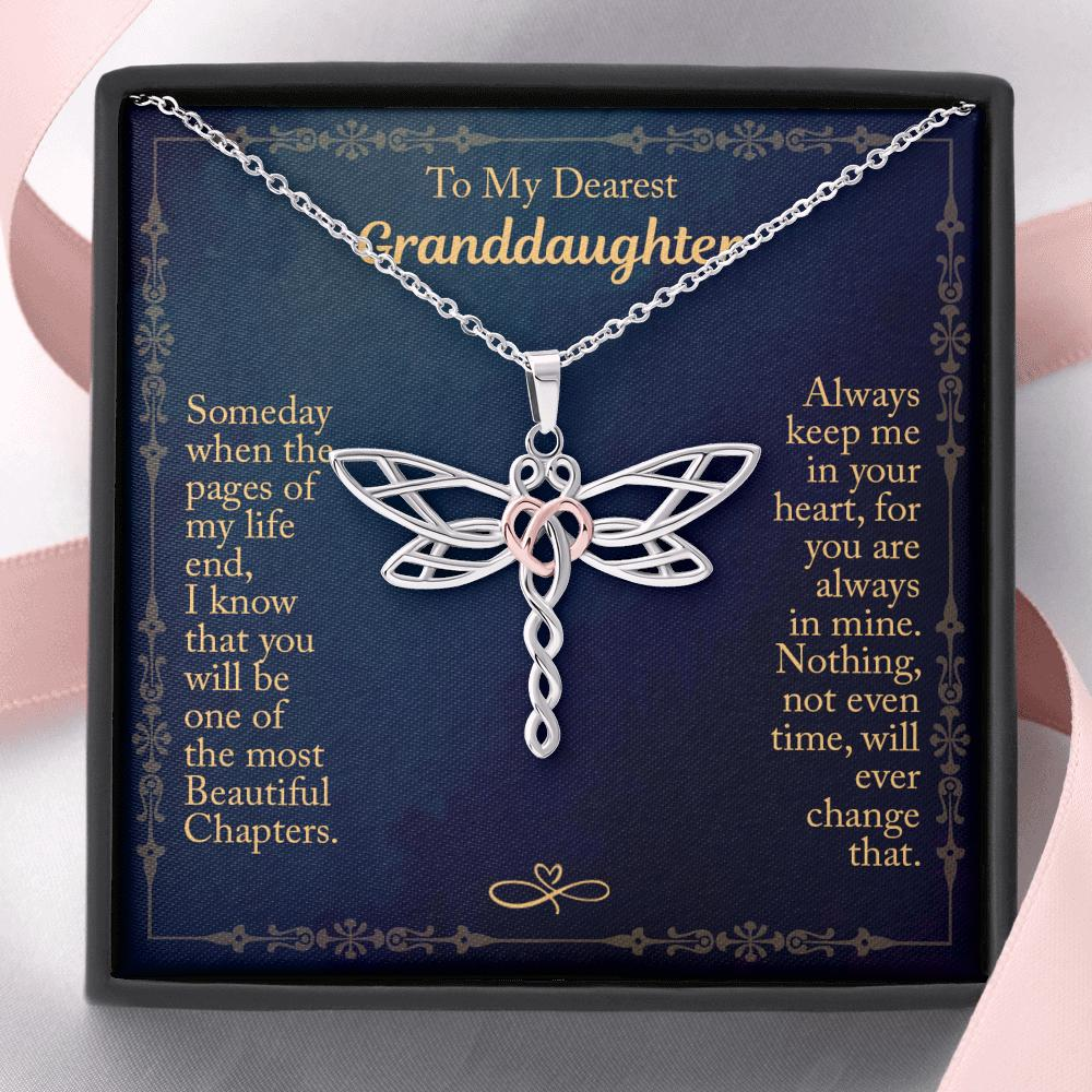 To My Dearest Granddaughter - Dragonfly Heart Necklace - Always Keep Me In Your Heart