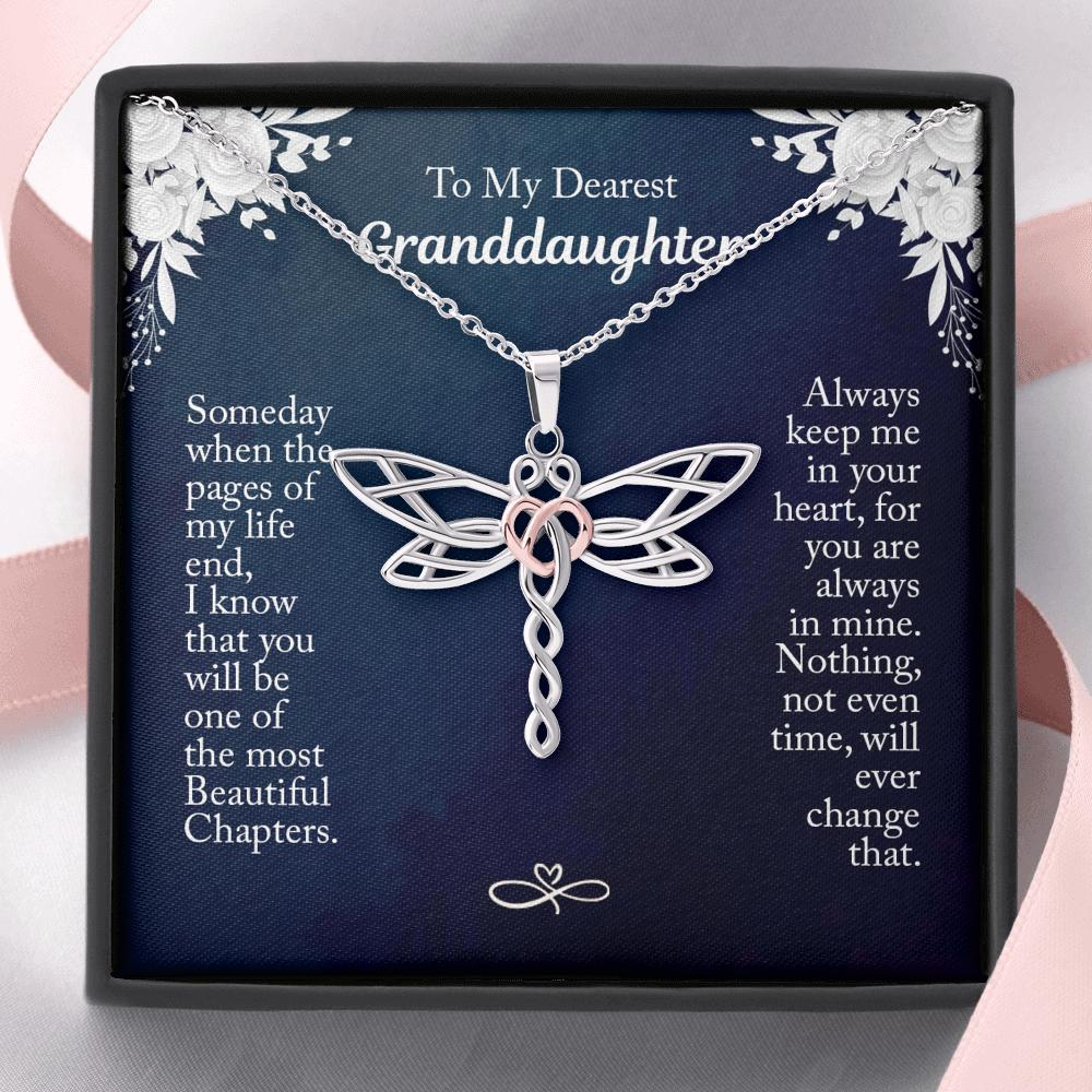 To My Dearest Granddaughter - Dragonfly Heart Necklace - Someday When The Pages Of My Life End, I Know That You Will Be On The Most Beautiful Chapters