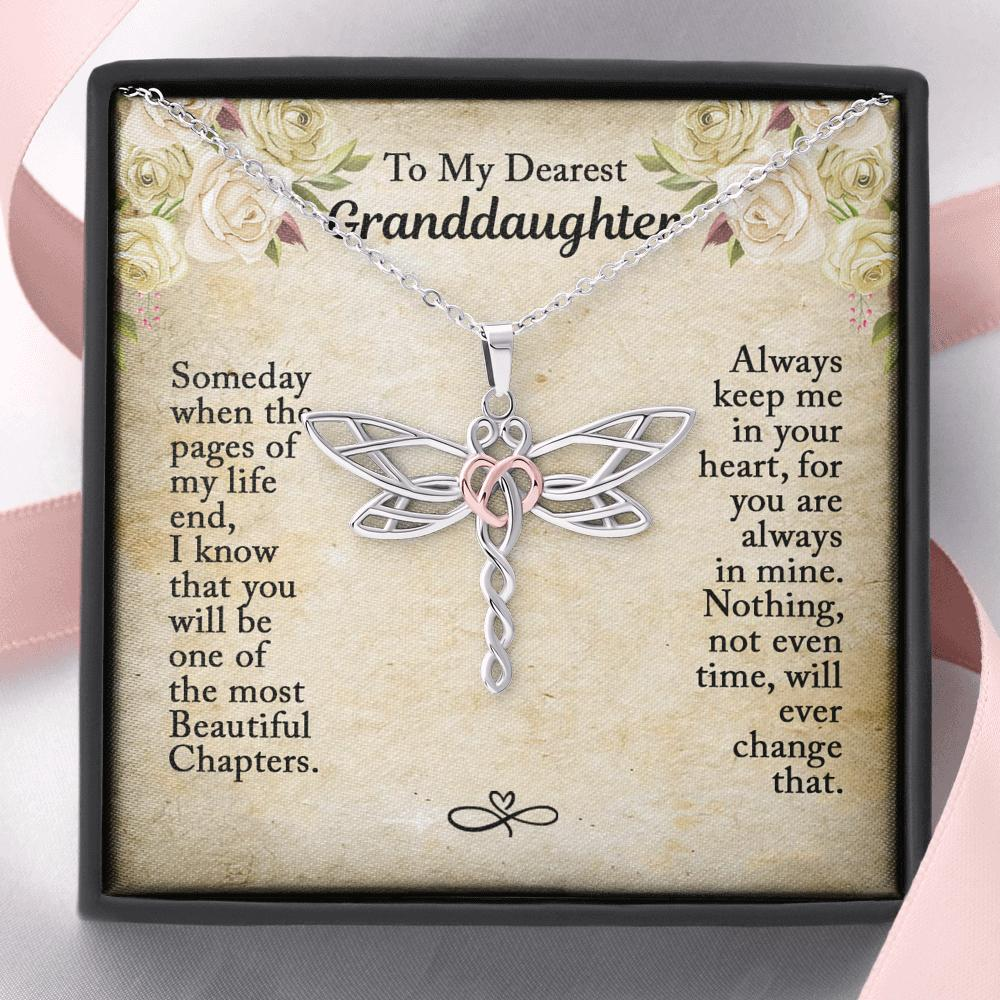To My Dearest Granddaughter - Dragonfly Heart Necklace - You Are Always In Mine