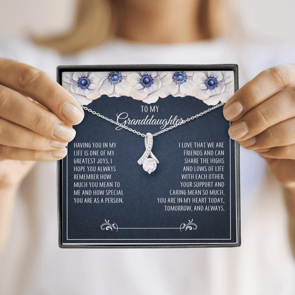 To My Granddaughter - Alluring Beauty Necklace - Always Remember How Much You Mean To Me