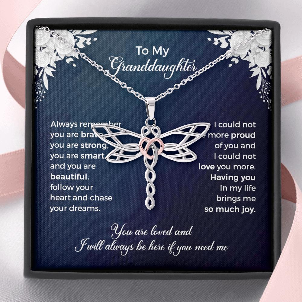 To My Granddaughter - Dragonfly Heart Necklace - Always Remember You Are Brave
