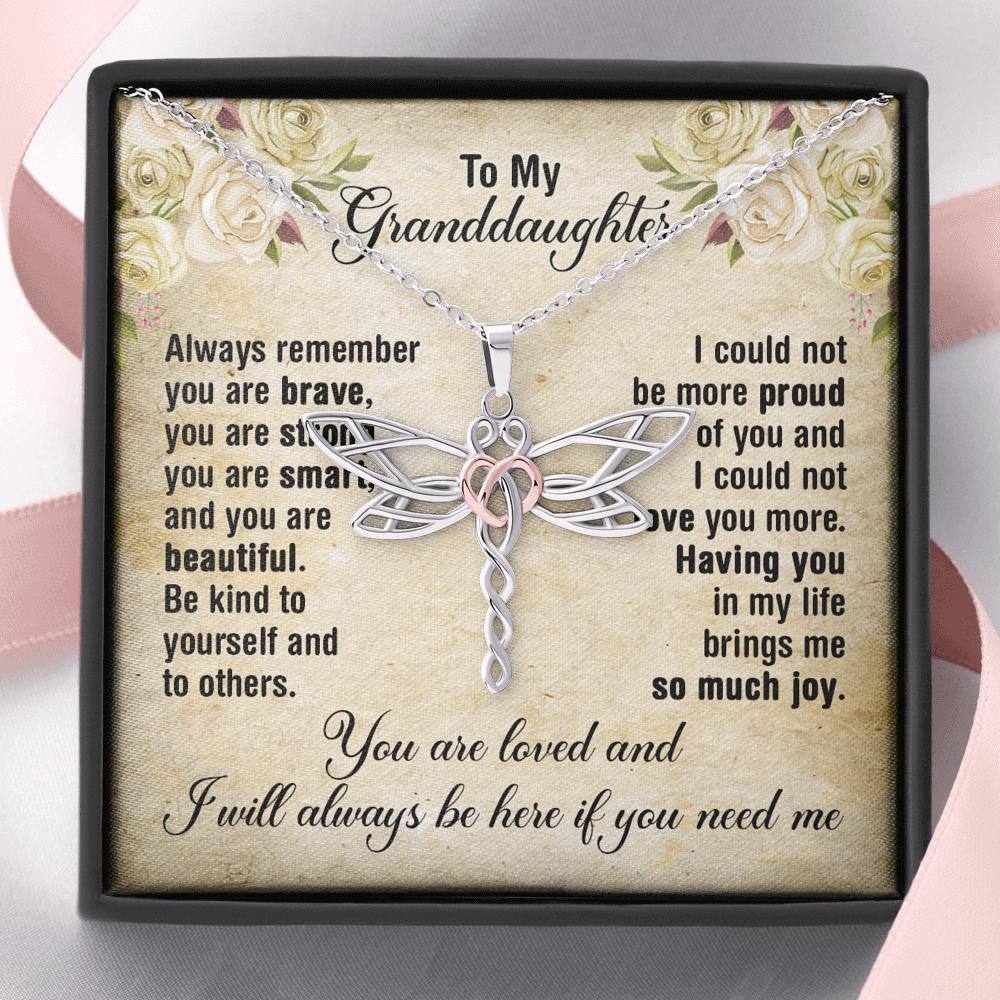 To My Granddaughter - Dragonfly Heart Necklace - You Bring Me So Much Joy