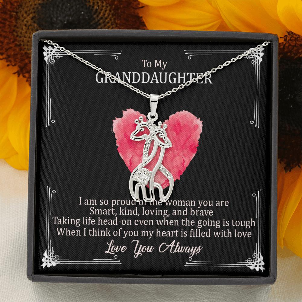 To My Granddaughter - Giraffe Love Necklace From Nana - I Am So Proud Of The Woman You Are