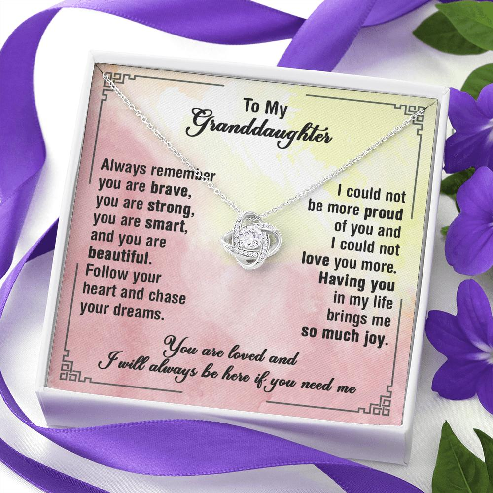 To My Granddaughter - Love Knot Necklace - Chase Your Dreams