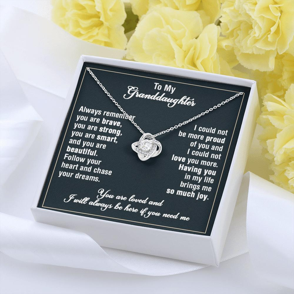 To My Granddaughter - Love Knot Necklace - Follow Your Heart And Chase Your Dreams