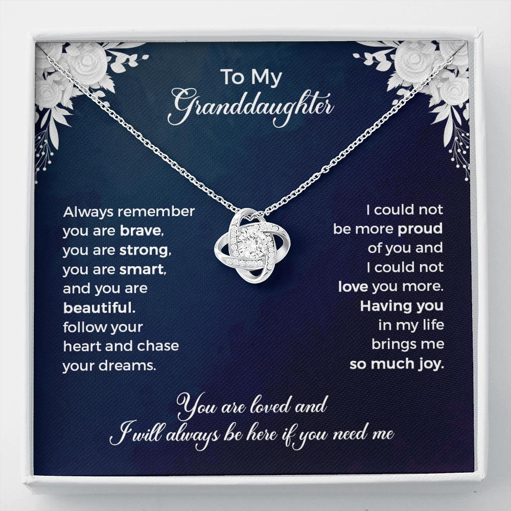 To My Granddaughter - Love Knot Necklace - Having You In My Life Brings Me So Much Joy