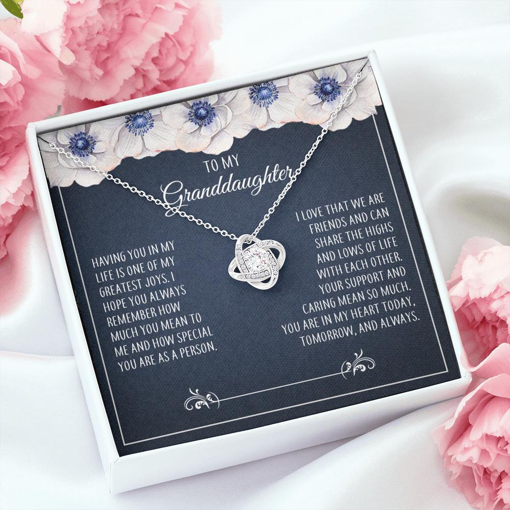 To My Granddaughter - Love Knot Necklace - How Much You Mean To Me
