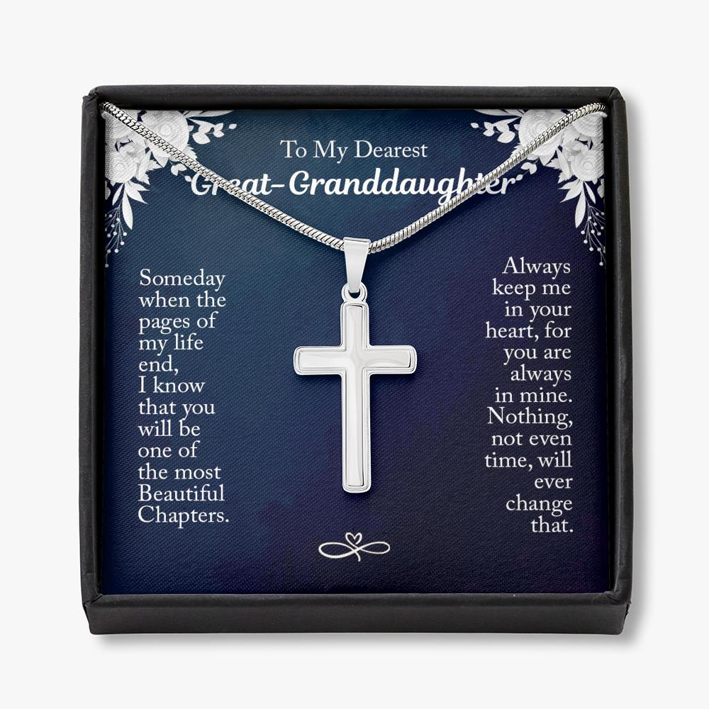 To My Great Granddaughter - Cross Necklace - Always Keep Me In Your Heart