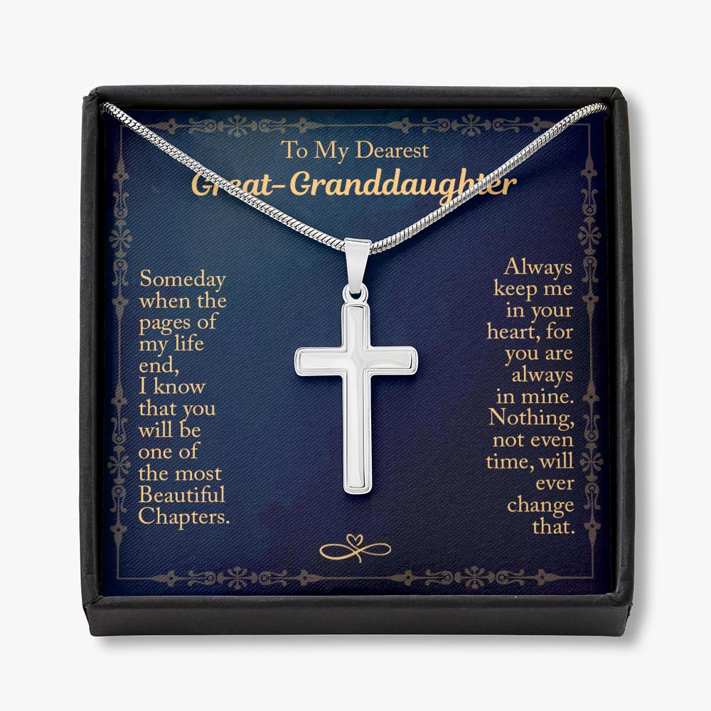 To My Great Granddaughter - Cross Necklace - How Much You Mean To Me