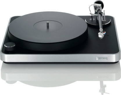 Clearaudio Concept mm turntable black and silver front view
