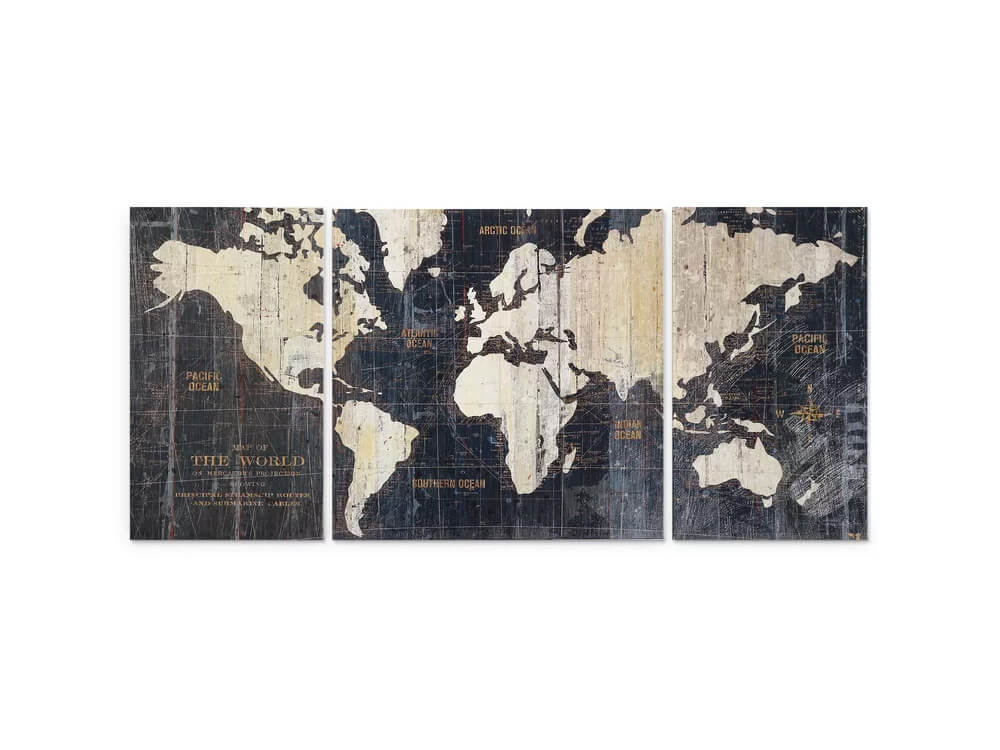 world 3 piece artwork