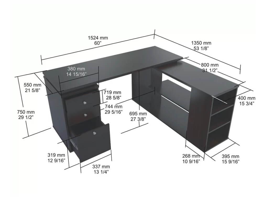 inhabitr L shaped desk