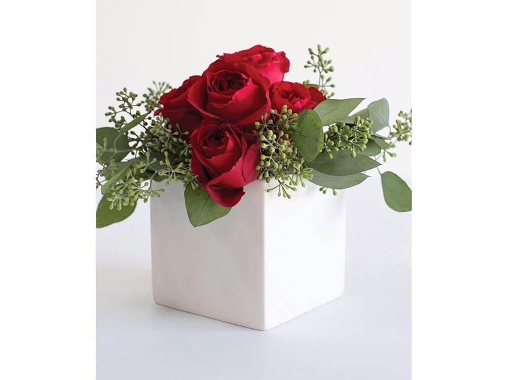Rent White Square Vase