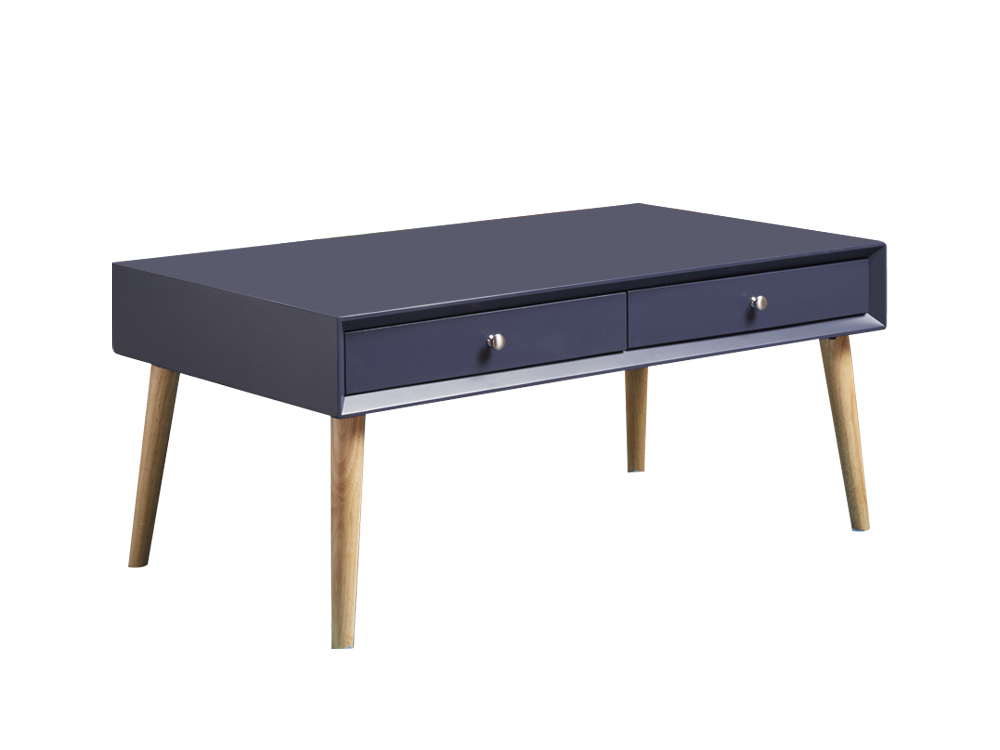 london 2 drawer coffee table blue