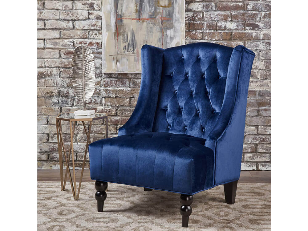 rent now blue sapphire accent chair