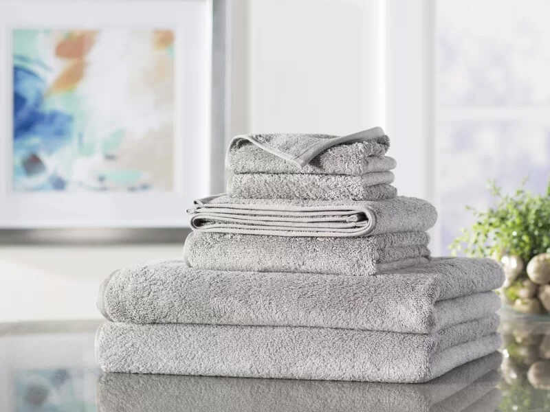 Grey 6pc Quick Dry Towel Set 1